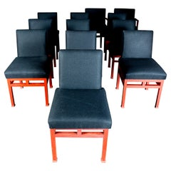 Set of Twelve Art Moderne Red Dining Chairs, 1940s