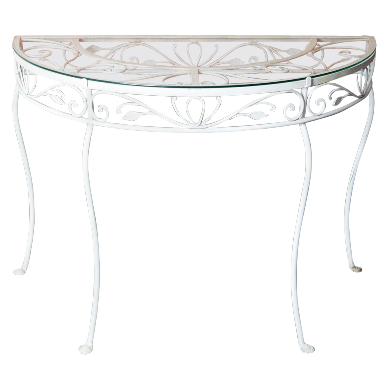 Salterini Wrought Iron Demi Lune Console Table