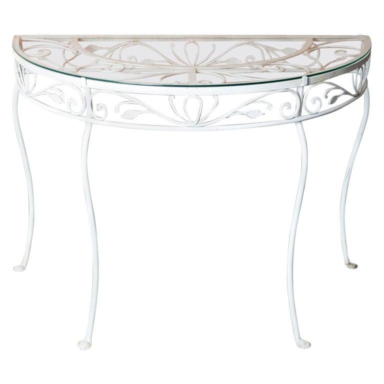 Salterini Wrought Iron Demi Lune Console Table For Sale
