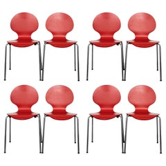 Arne Jacobsen Modern Red 'Series 7' Side Chairs