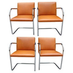 Authentic Set of Four Midcentury Knoll Brno Chairs by Mies van der Rohe