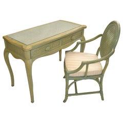 Hollywood Regency Whitecraft Desk, Vanity & Armchair Green Finish American, 1970