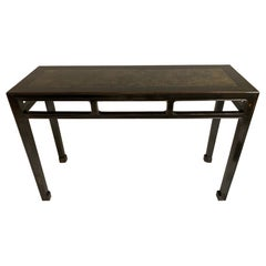 Black Lacquer Console Table with Inlaid Marble Top, Chinese 19th Century
