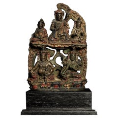Early Tibetan Hard Black Stone Pierced Carving-5 Figures, Quite Rare, 7167