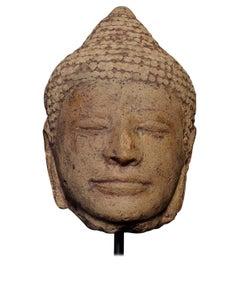 13/14thC Thai or Khmer Solid Terracotta Buddha Head, 7278