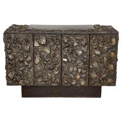 Rare Paul Evans Sculpted Bronze Brutalist Sideboard, USA, 1968