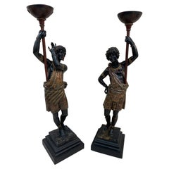 Pair of Hand Painted Italian Blackamoors From the 19th Century