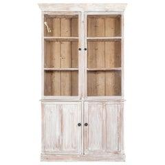 19thc English Glazed Pine Housekeepers Cupboard