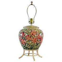 Floral Ceramic Round Table Lamp