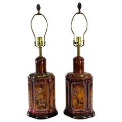 Frederick Cooper Asian-Style Wood Table Lamps, Pair