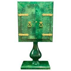 Unique and Breathtaking Aldo Tura Malachite Green Bar Cabinet