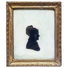 Rare Antique Eglomise Silhouette, American, circa 1810