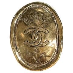 Vintage Chanel Regal Crown Logo Coin Medallion Brooch