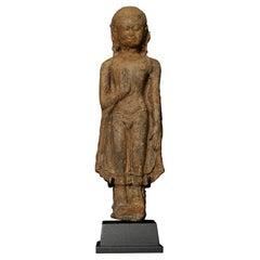 13thC Northern Thai Haripunchai Terracotta Standing Buddha, 7762