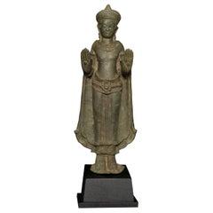 Solid-Cast 12/13thC Cambodian Bronze Buddha, 7765