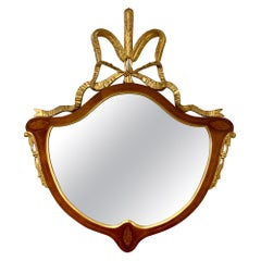 Rare Fineberg Wall Mirror with Oval Inlays and Carved Gilt Plume