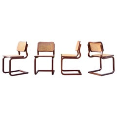Vintage Cane Cantilever Dining Chairs in the manner of Marcel Breuer Set of 4