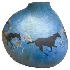 Soszynski Gourd Art Galloping Horses in Metallic Blue Artist Signed 1980s