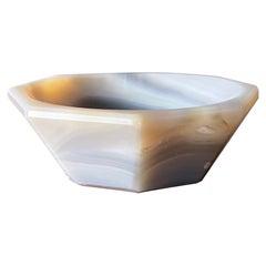 Polished Octagonal Stone Bowl circa 1980s