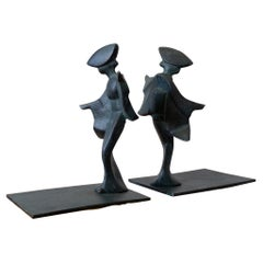 Midcentury Japanese Iron Bookends