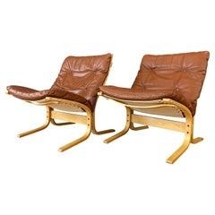 Pair Brown Leather Siesta Lounge Chairs by Ingmar Relling for Westnofa of Norway