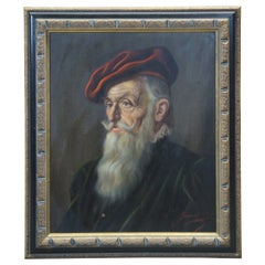 Vintage Oil on Canvas Jeno Gussich Portrait of Old Man Red Beret Realism