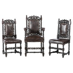 Armchair and Pair of Ecclesiastical Chairs 19th Century