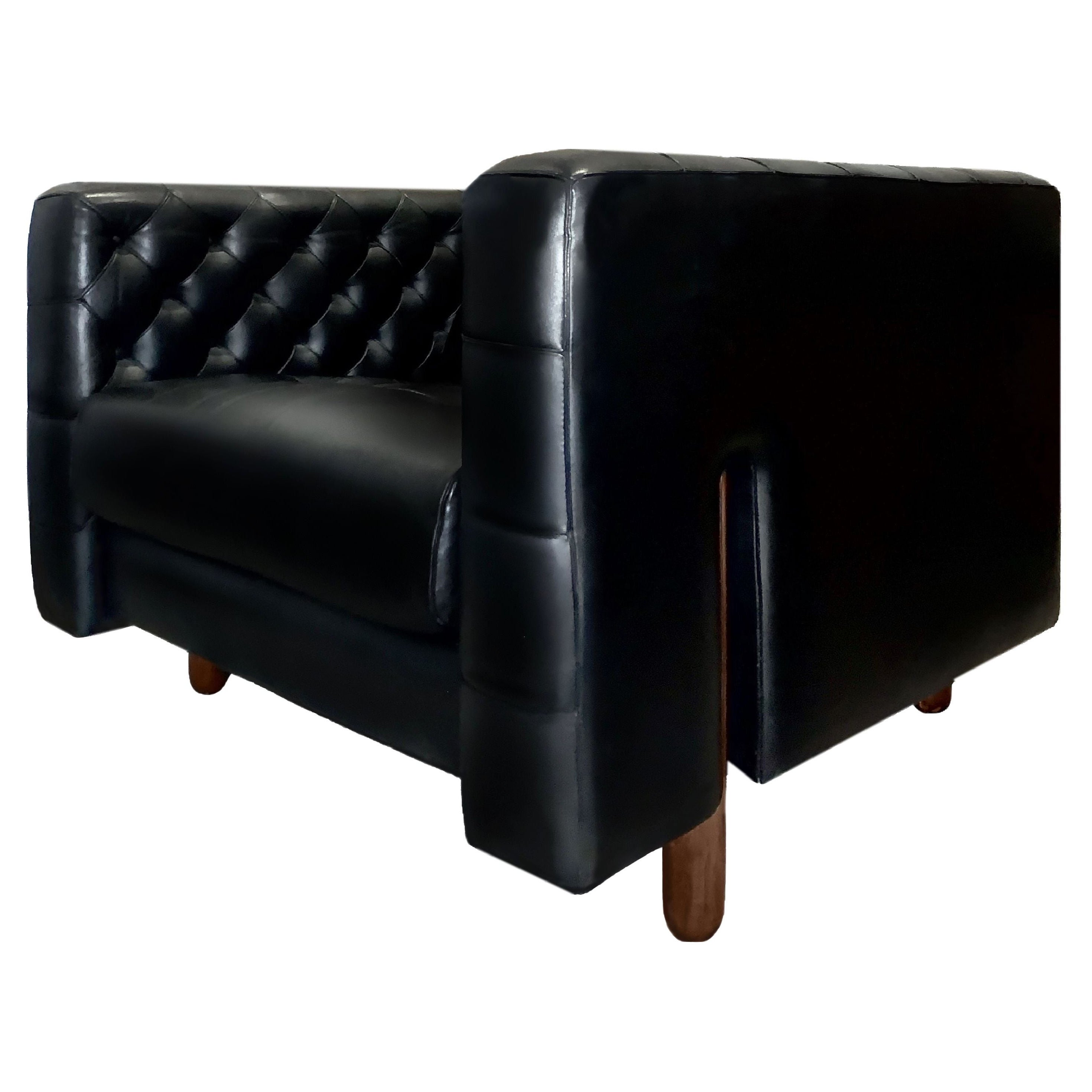 Gianfranco Fratelli Cube Lounge Chair Hand-Stitched Black Leather Cassina, Italy