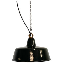 Black Enamel Industrial Pendant Lamp, 1930s