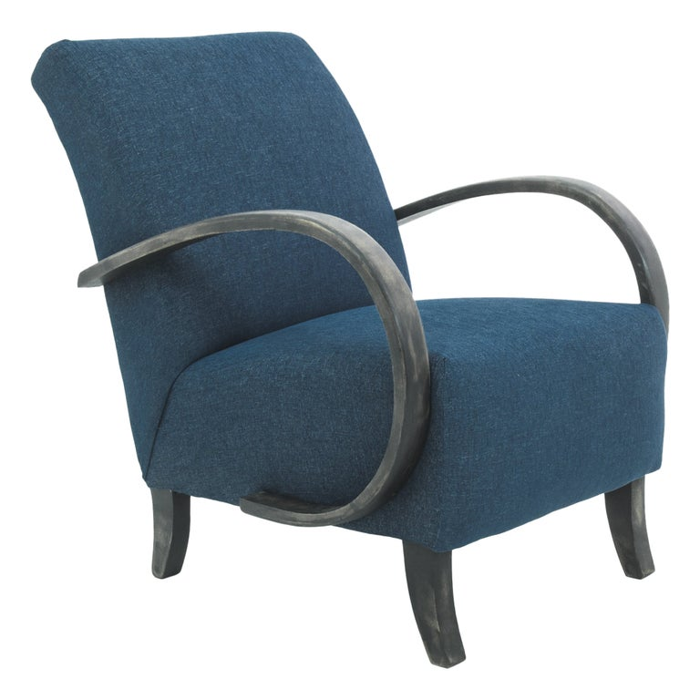 1930s Navy Upholstered Armchair by Jindrich Halabala For Sale