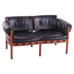 Vintage Black Leather 2 Seater Sofa by Sven Ellekaer for Coja, 1960s