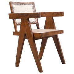 Pierre Jeanneret Office Cane Chair / Authentic Mid-Century Chandigarh PJ-SI-28-B