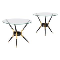 60s Metal, Brass Tripod Side Table Italian Design in Cesare Lacca Style Set/2