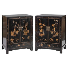 Pair of Small Gilt Painted Black Lacquer Cabinets, Scholastic Treasures Painting