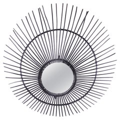 Large Black French Bamboo Sunburst Mirror, 1960s