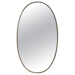 Mid-Century Italian Oval Wall Mirror with Brass Frame 'circa 1950s'