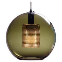 1960's Dark Green Spherical Glass Pendant by Carl Fagerlund for Orrefors Sweden