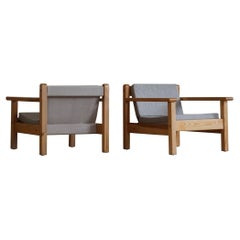 Mid Century Pair of Danish Lounge Chairs in Pine and New Cushions in Canvas
