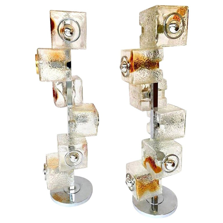 Pair of Sculptural Floor Lamps by Tony Zucceri for VeArt, Italy, 1970 For Sale