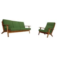 """Hans J. Wegner Oak & Green New Reupholstery Living Room Set """"GE290"""" 1960 Denmark"""