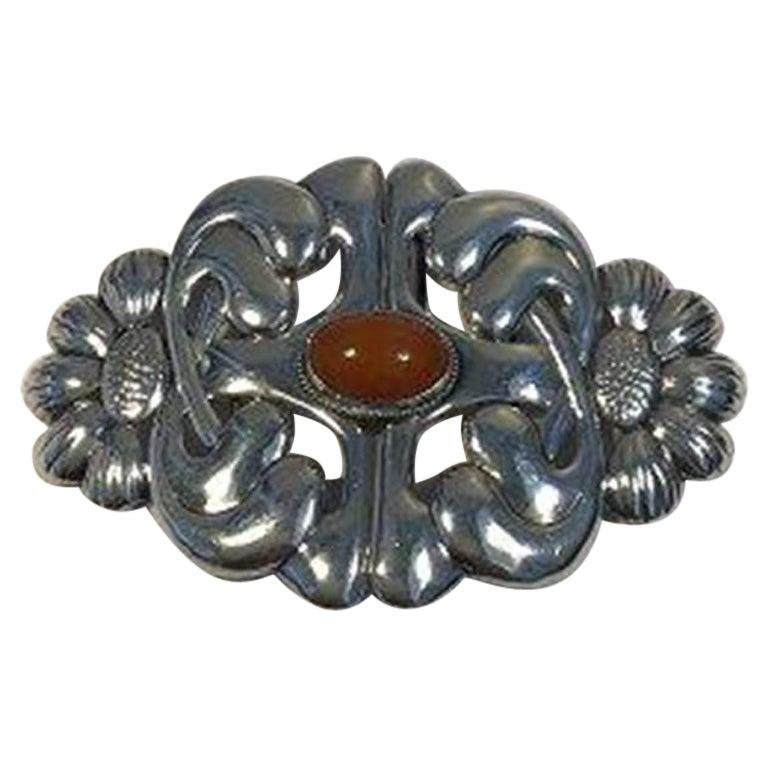 Danish Art Nouveau Silver Belt Buckle with Amber