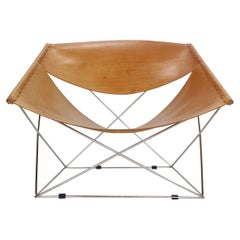 "Pierre Paulin Cognac Leather ""F675- Butterfly"" Lounge Chair For Artifort, 1963"