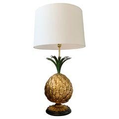 Italian Gilt Metal Pineapple Table Lamp 1950's
