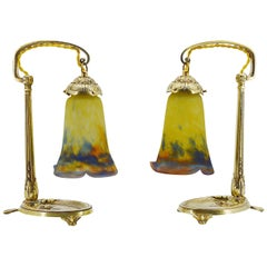 Muller Freres & Charles Ranc French Art Deco Pair of Table Lamps, Ca.1920