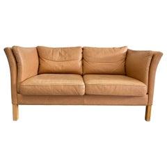 Mid Century Danish Modern Beautiful Tan Leather 2 Seat Sofa Birch Legs