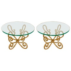 Venetian Style Glass Top Side Tables on Gilded Iron Base, Italy