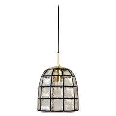 Limburg Mid-Century Vintage Glass and Brass Bell Pendant Light / Lamp, 1960s