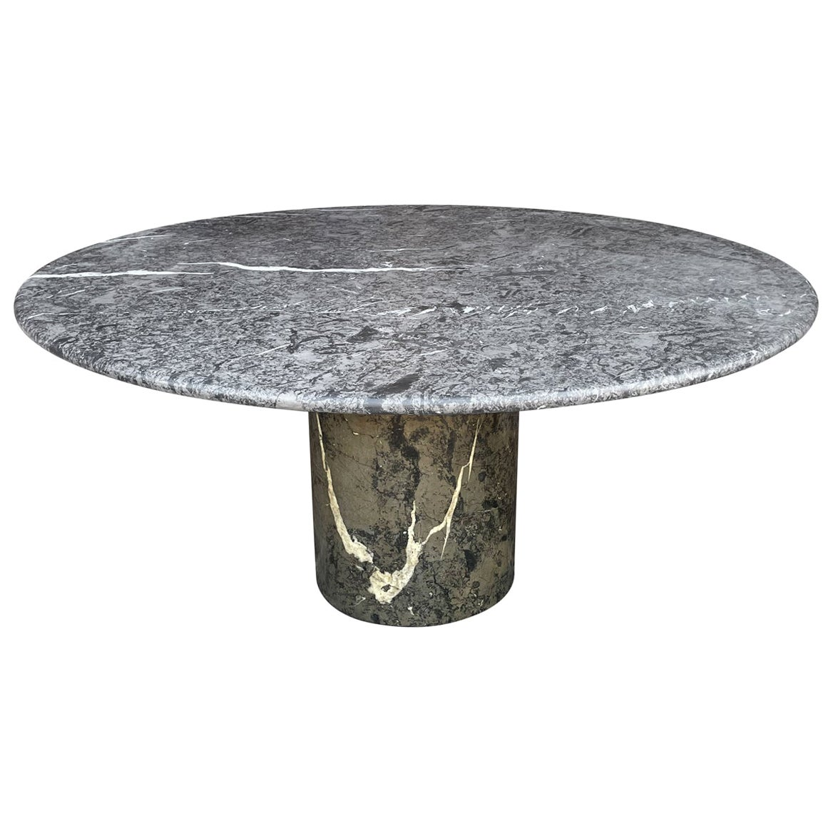 Large Mid Century Italian Modern Circular Marble Dining Table in Green & Gray