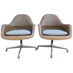Pair of Mid-Century Modern Herman Miller Leather Lounge Shell Chairs