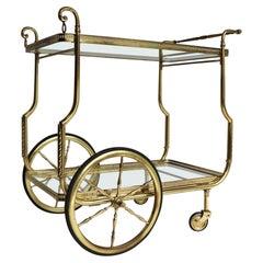 French Maison Jansen Design Hollywood Regency Bar Cart Trolley Cocktail Brass